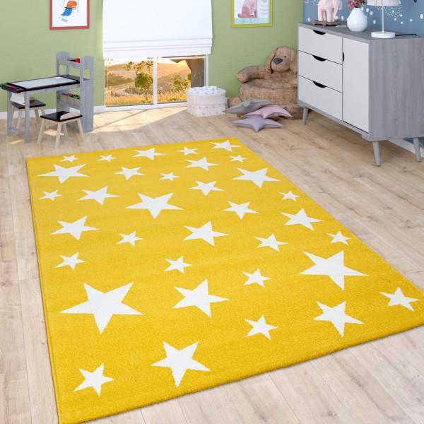 Kinder-Teppich Kinderzimmer Sternen-Design Gelb