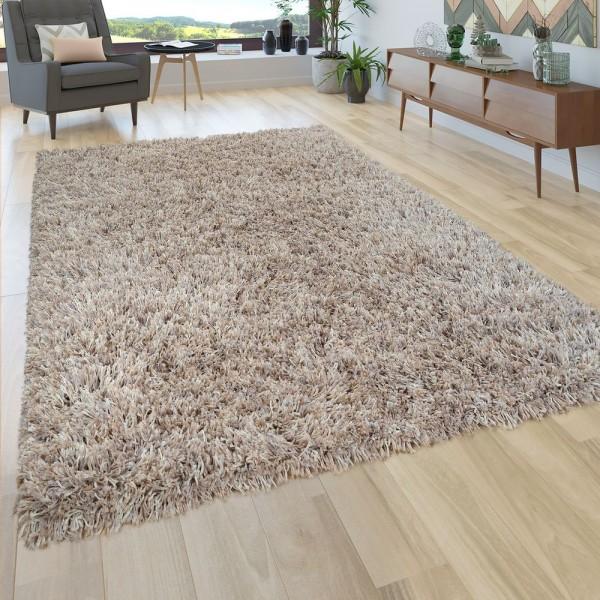 Hochflor Teppich Wohnzimmer Shaggy In Beige u. Creme, Extra Langer Weicher Flor