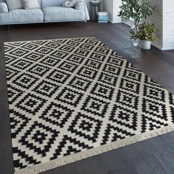 Teppich Modern Marokkanische Muster Handgewebt Skandi Rauten Fransen Gelb Weiß