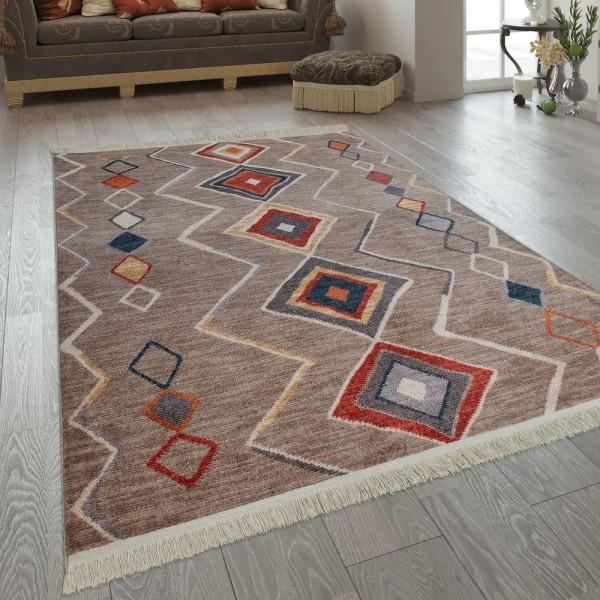 Teppich Ethno Design Boho Karo Rauten Muster Teppich De 8
