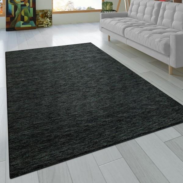 Teppich Handgeknotet Gabbeh Hochwertig 100% Wolle Dezent Meliert Anthrazit