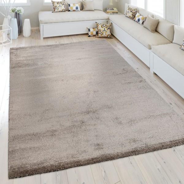 Kurzflor Teppich Einfarbig Braun