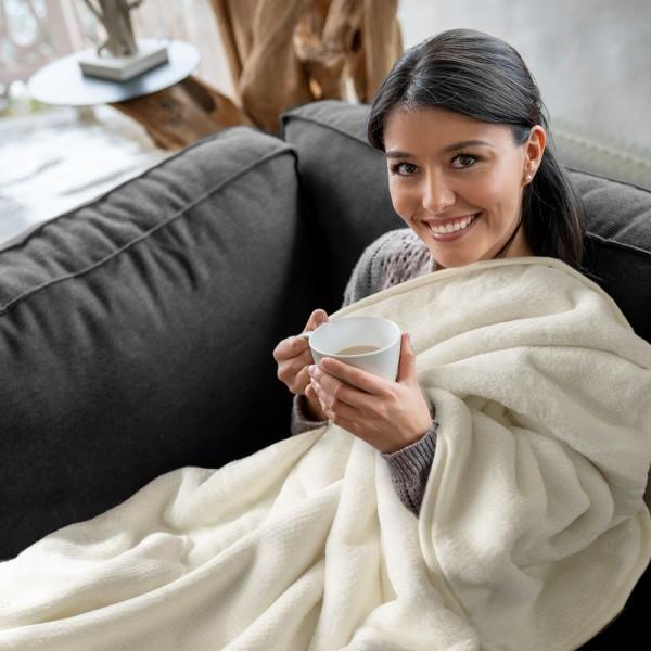 Kuscheldecke Rosenduft Decke Weich Warm Gemütlich Einfarbig In Creme Weiß