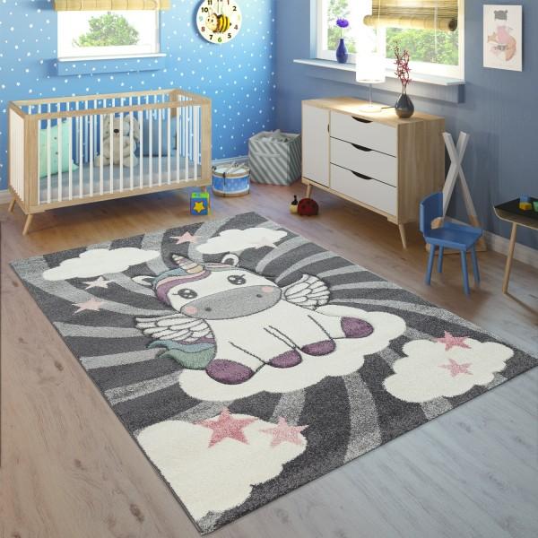Teppich Kinderzimmer Mädchen Einhorn Wolken Rosa Lila
