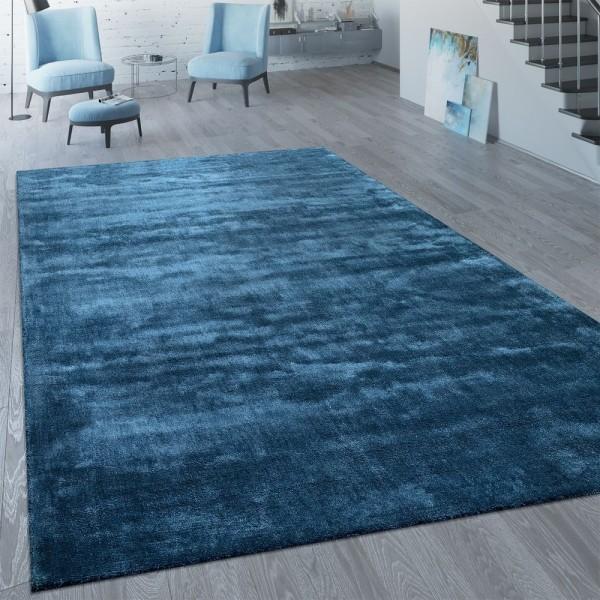 Kurzflor Teppich Unifarben Blau